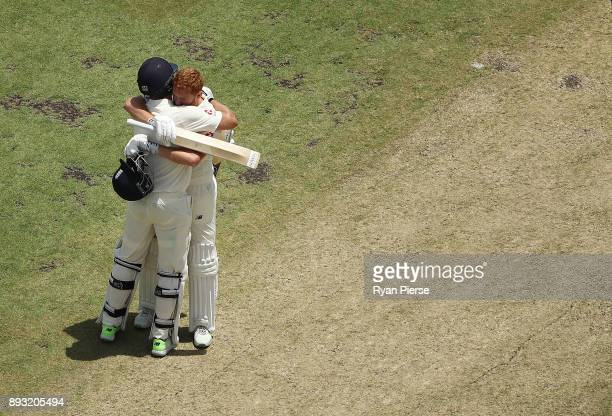 Jonny Bairstow of England celebrates with Dawid Malan of England after reaching his century during day two of the Third Test match during the 2017/18...