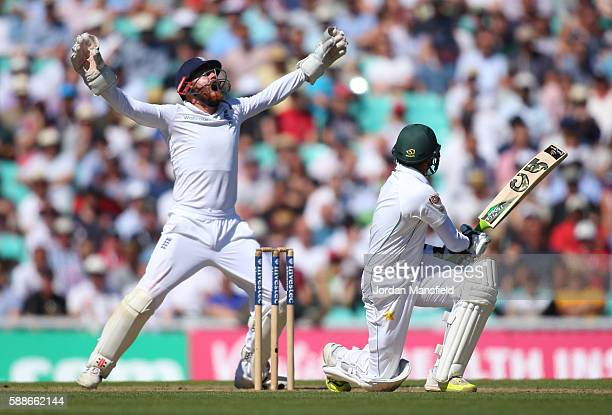Jonny Bairstow of England celenbrates catching out Azhar Ali of Pakistan during day two of the 4th Investec Test between England and Pakistan at The...