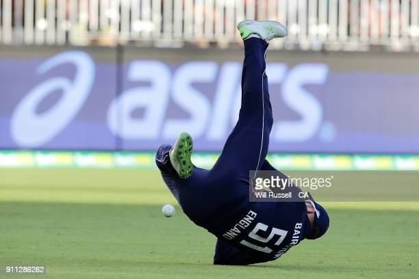 Jonny Bairstow of England drops a catch of Andrew Tye of Australia during game five of the One Day International match between Australia and England...