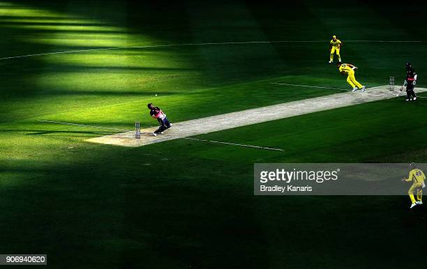 Jonny Bairstow of England ducks a bouncer from Mitchell Starc of Australia during game two of the One Day International series between Australia and...
