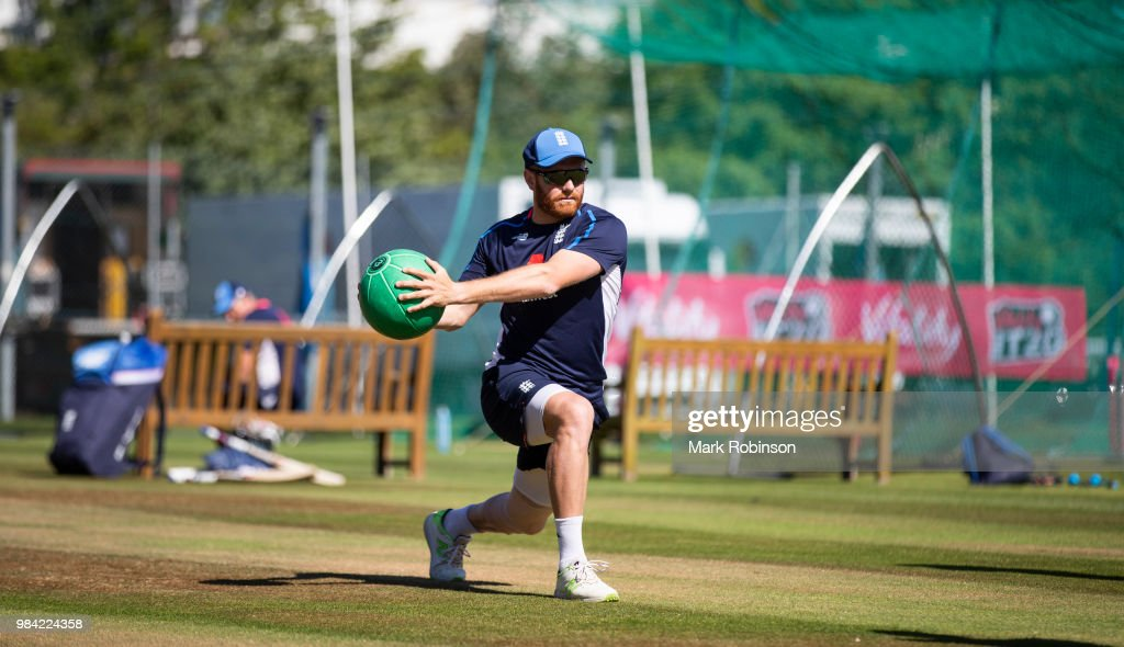 Jonny Bairstow of England during a nets session at Edgbaston on June 26, 2018 in Birmingham, England.