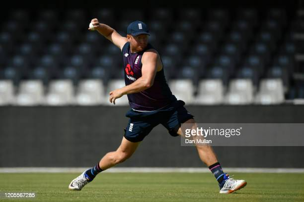 Jonny Bairstow of England fields during a training session ahead of the first T20 International between South and England at Buffalo Park on February...