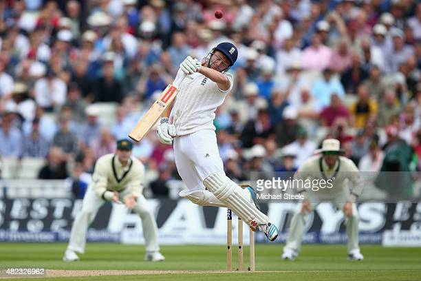 Jonny Bairstow of England gloves a delivery from Mitchell Johnson and is caught by wicketkeeper Peter Nevill during day two of the 3rd Investec Ashes...