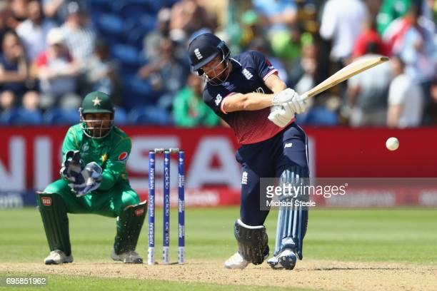 Jonny Bairstow of England hits straight to the onside boundary off the bowling of Shadab Khan as wicketkeeper Sarfraz Ahmed looks on during the ICC...