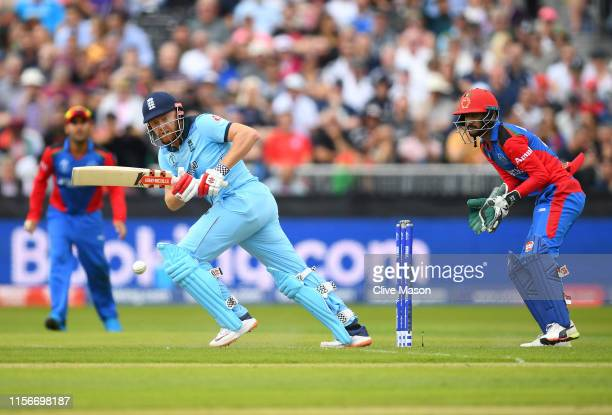 Jonny Bairstow of England in action batting as Ikram Ali Khil of Afghanistan looks on during the Group Stage match of the ICC Cricket World Cup 2019...