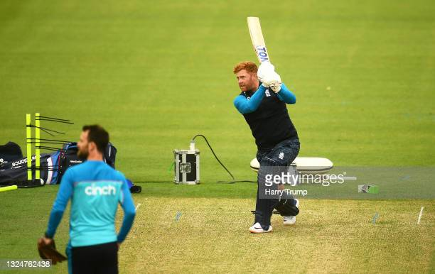 Jonny Bairstow of England in batting action during an England Nets Session at Sophia Gardens on June 21, 2021 in Cardiff, Wales.