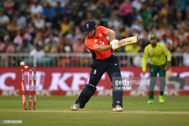 Jonny Bairstow of England is bowled by Andile Phehlukwayo of South Africa during the Second T20 International match between England and South Africa...