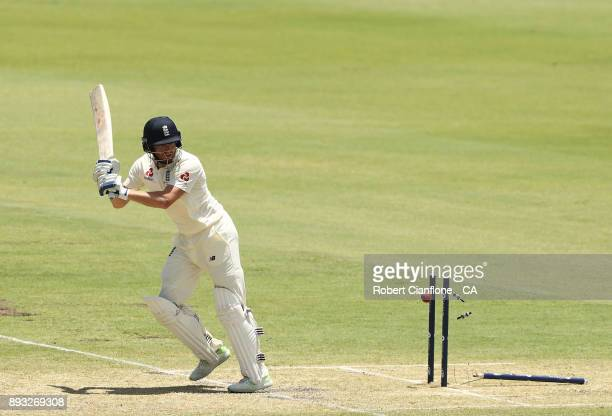 Jonny Bairstow of England is bowled by Mitchell Starc of Australia during day two of the Third Test match during the 2017/18 Ashes Series between...