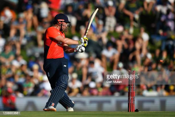 Jonny Bairstow of England is bowled out by during the Andile Phehlukwayo of South Africa Third T20 International match between South Africa and...