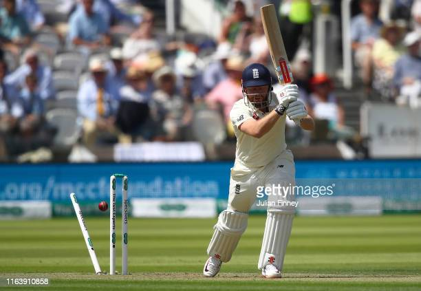 Jonny Bairstow of England is bowled out by Tim Murtagh of Ireland during day one of the Specsavers Test Match between England and Ireland at Lord's...