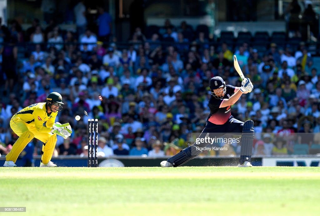 Jonny Bairstow of England is clean bowled by Adam Zampa of Australia during game three of the One Day International series between Australia and England at Sydney Cricket Ground on January 21, 2018 in Sydney, Australia.
