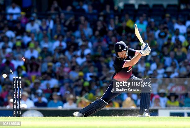 Jonny Bairstow of England is clean bowled by Adam Zampa of Australia during game three of the One Day International series between Australia and...