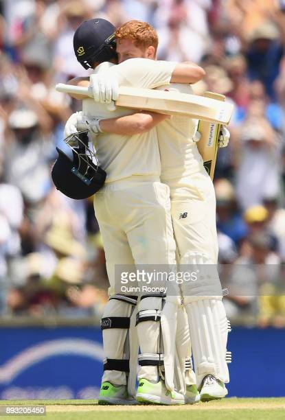 Jonny Bairstow of England is congratulated by Dawid Malan after making a century during day two of the Third Test match during the 2017/18 Ashes...