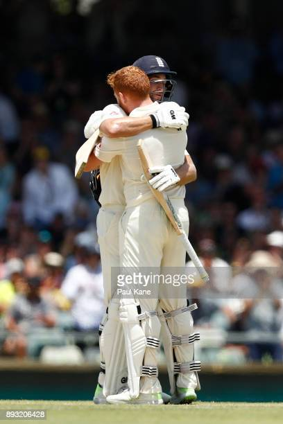 Jonny Bairstow of England is embraced by Dawid Malan after scoring his century during day two of the Third Test match during the 2017/18 Ashes Series...