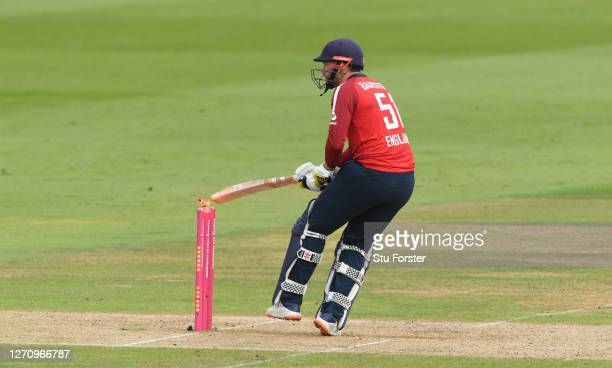 Jonny Bairstow of England is out hit wicket after knocking off the bails with his bat from the bowling of Mitchell Starc of Australia during the 2nd...