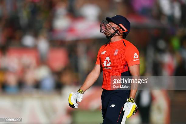 Jonny Bairstow of England leaves the field after being bowled out by during the Andile Phehlukwayo of South Africa Third T20 International match...