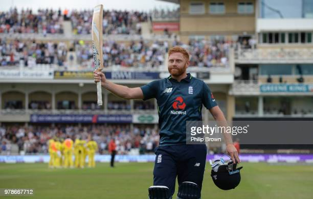 Jonny Bairstow of England leaves the field after being dismissed for 139 runs during the third Royal London OneDay International match between...