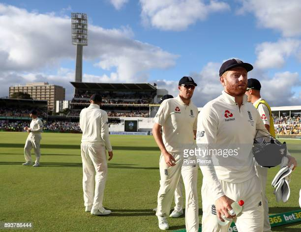 Jonny Bairstow of England leaves the ground at stumps during day three of the Third Test match during the 2017/18 Ashes Series between Australia and...