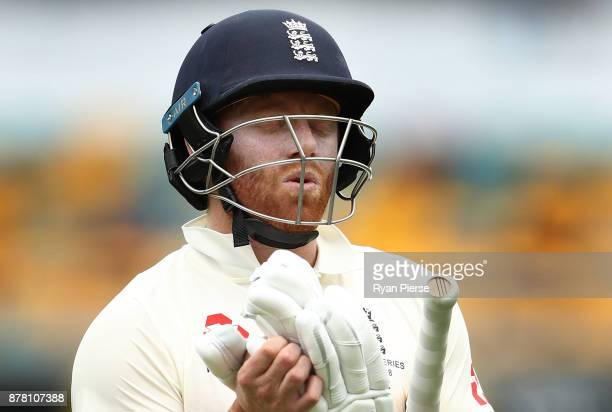 Jonny Bairstow of England looks dejected after being dismissed by Pat Cummins of Australia during day two of the First Test Match of the 2017/18...