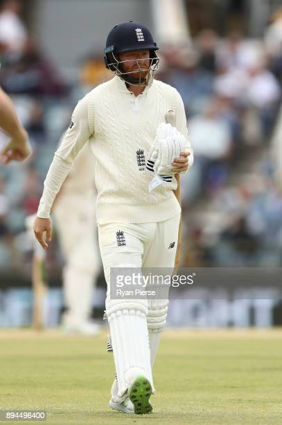 Jonny Bairstow of England looks dejected after being dismissed by Josh Hazlewood of Australia during day five of the Third Test match during the...
