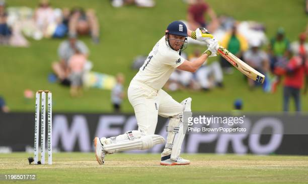 Jonny Bairstow of England looks on as he is caught during Day Four of the First Test match between England and South Africa at SuperSport Park on...