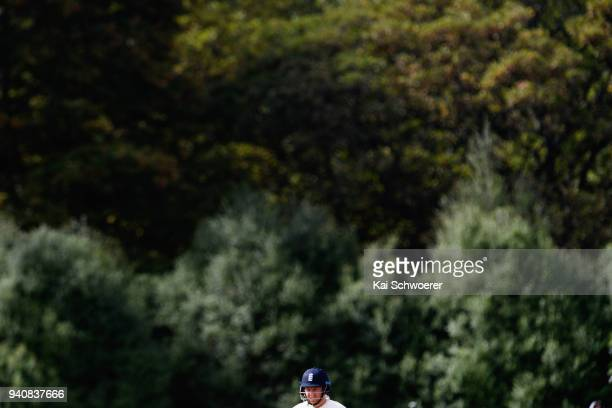 Jonny Bairstow of England looks on during day four of the Second Test match between New Zealand and England at Hagley Oval on April 2 2018 in...