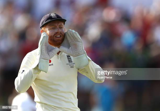 Jonny Bairstow of England looks on during day three of the Third Test match during the 2017/18 Ashes Series between Australia and England at WACA on...