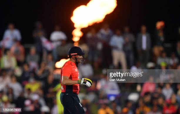 Jonny Bairstow of England looks on during the first T20 International match between South Africa and England at Buffalo Park on February 12 2020 in...
