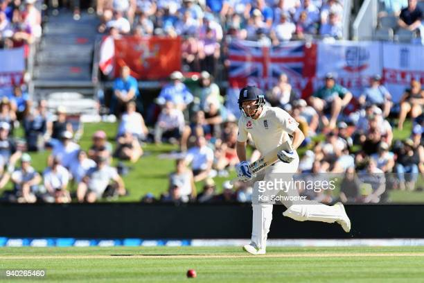 Jonny Bairstow of England makes a run during day two of the Second Test match between New Zealand and England at Hagley Oval on March 31 2018 in...