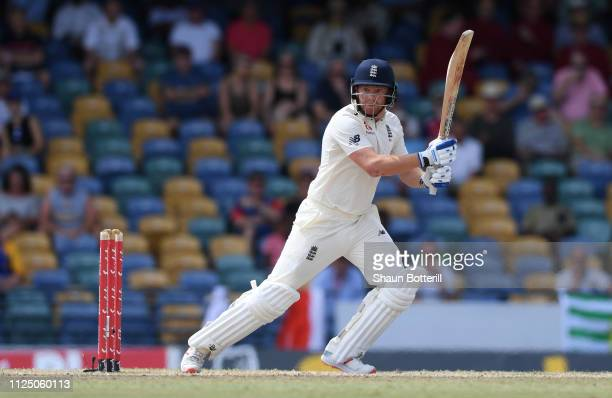 Jonny Bairstow of England plays a shot during Day Four of the First Test match between England and West Indies at Kensington Oval on January 26, 2019...