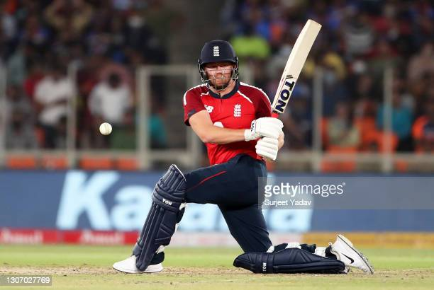 Jonny Bairstow of England plays a shot during the 2nd T20 International match between India and England at Narendra Modi Stadium on March 14, 2021 in...