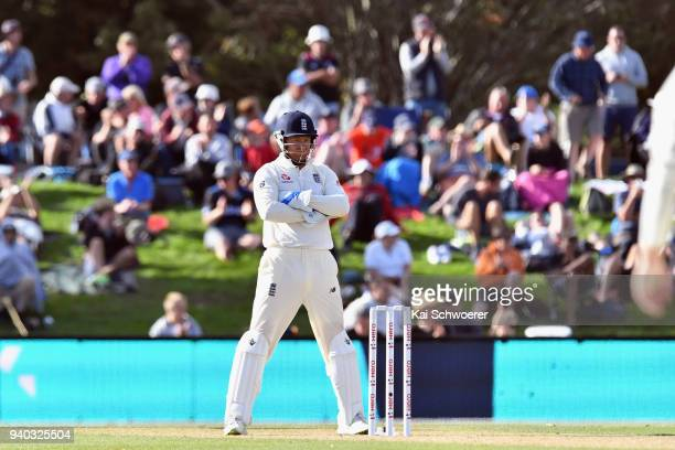 Jonny Bairstow of England reacting during day two of the Second Test match between New Zealand and England at Hagley Oval on March 31 2018 in...
