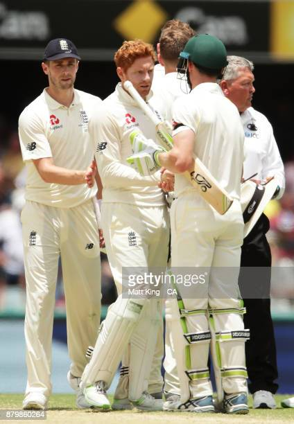 Jonny Bairstow of England shakes hands with Cameron Bancroft of Australia at the conclusion of play during day five of the First Test Match of the...