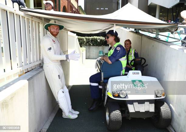 Jonny Bairstow of England stands in the shade during the lunch break during day four of the Fifth Test match in the 2017/18 Ashes Series between...