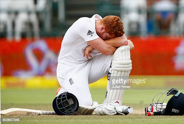 Jonny Bairstow of England takes a break as he waits a stumping decision during day five of the 2nd Test at Newlands Stadium on January 6 2016 in Cape...