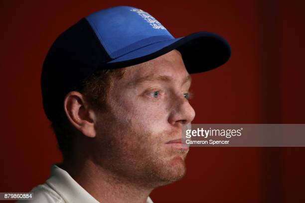 Jonny Bairstow of England talks to media during a press conference following play during day five of the First Test Match of the 2017/18 Ashes Series...