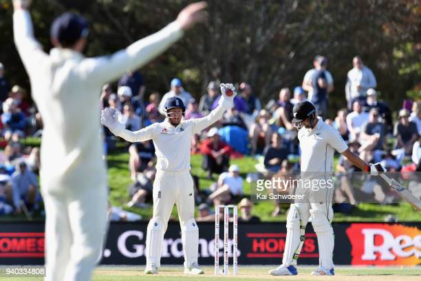 Jonny Bairstow of England unsuccessfully appeals for the wicket of Colin de Grandhomme of New Zealand during day two of the Second Test match between...