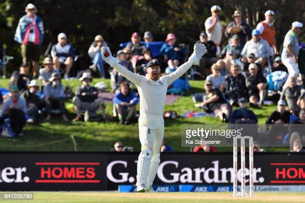 Jonny Bairstow of England unsuccessfully appeals for the wicket of Ish Sodhi of New Zealand during day five of the Second Test match between New...