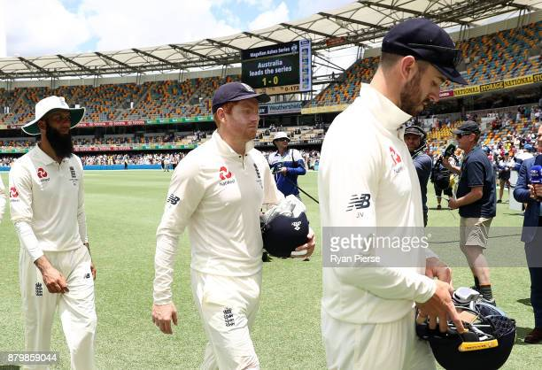Jonny Bairstow of England walks from ground at the end of play during day five of the First Test Match of the 2017/18 Ashes Series between Australia...