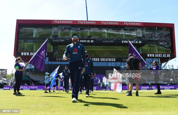 Jonny Bairstow of England walks out before the 5th Royal London ODI match between England and Australia at Emirates Old Trafford on June 24 2018 in...