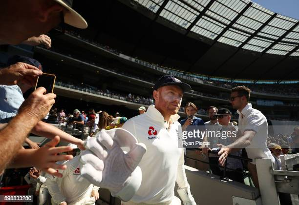 Jonny Bairstow of England walks out to field during day two of the Fourth Test Match in the 2017/18 Ashes series between Australia and England at...