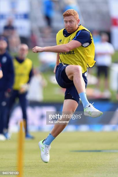 Jonny Bairstow of England warms up prior to day four of the Second Test match between New Zealand and England at Hagley Oval on April 2 2018 in...