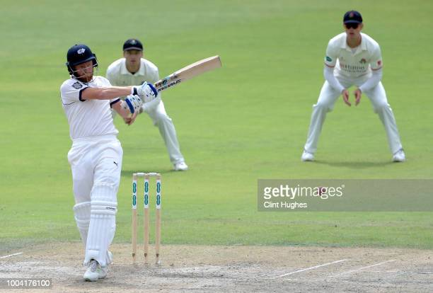 Jordan Clark of Lancashire bowls during day two of the Specsavers County Championship division one match between Lancashire and Yorkshire at Emirates...