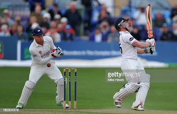 Jonny Bairstow of Yorkshire fumbles a stumping opportunity against Ben Brown of Sussex during the LV County Championship match between Sussex and...