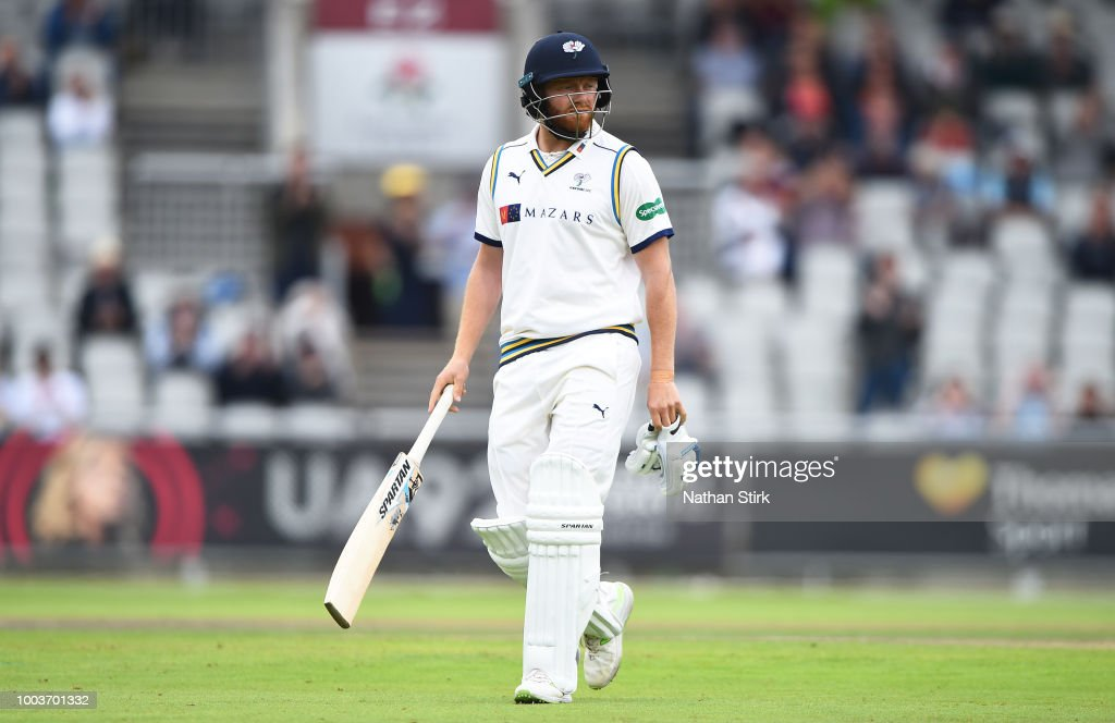 Jonny Bairstow of Yorkshire walks back the pavilion after getting out for a golden duck during the Specsavers Championship Division One match between Lancashire and Yorkshire at Old Trafford on July 22, 2018 in Manchester, England.