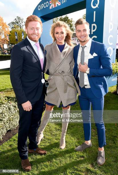 Jonny Bairstow Olivia Attwood and Chris Hughes during the QIPCO British Champions Day at Ascot Racecourse on October 21 2017 in Ascot United Kingdom