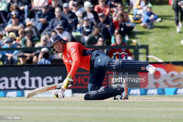 Jonny Bairstowof England loses his balanceduring the first T20 International match between England and New Zealand at Hagley Oval in Christchurch,...
