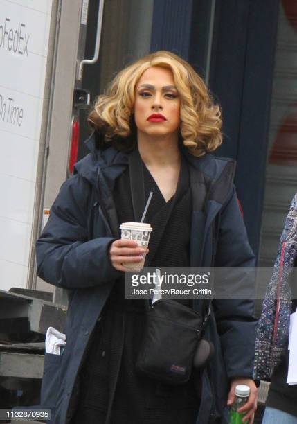 Jonny Beauchamp is seen as Ginger Lopez on the set of Katy Keene on March 25 2019 in New York City