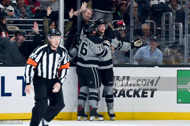 Jonny Brodzinski and Austin Wagner of the Los Angeles Kings celebrate Wagner's secondperiod goal during the game against the Chicago Blackhawks at...