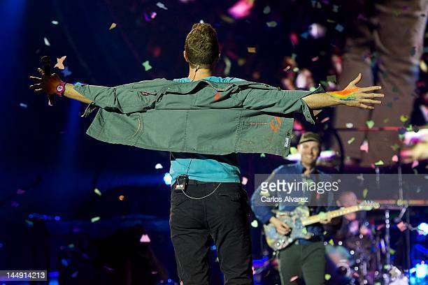 Jonny Buckland and Chris Martin of Coldpaly perform on stage at Vicente Calderon stadium on May 20, 2012 in Madrid, Spain.
